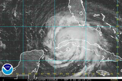 Hurricane Ike Satellite Visible Image 0909 1615Z