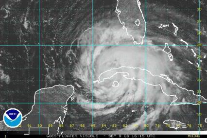 Hurricane Ike Satellite Visible Image 0909 1615Z