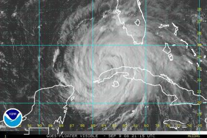 Hurricane Ike Satellite Visibile Image 0909 2115