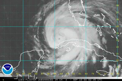Hurricane Ike Satellite Unenhanced IR 0910 00Z