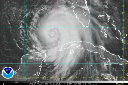 Hurricane Ike Satellite Visible Image 1645Z 0910