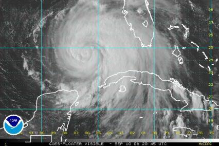 Hurricane Ike Satellite Visible Image 2045Z 0910
