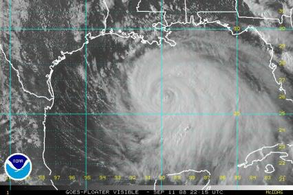 Hurricane Ike Satellite Visible Image 2215Z 0911