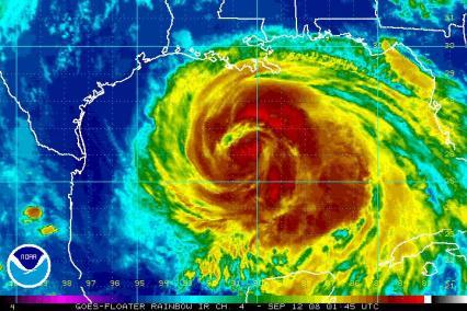 Hurricane Ike Satellite IR image 0145Z 0912