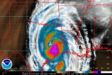 Hurricane Ike Water Vapor Image 0913 1345Z