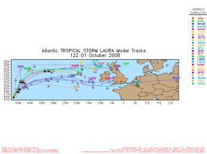 Tropical Storm Laura Spaghetti Model 1001 12Z