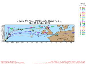 Tropical Storm Laura Spaghetti Model 1001 12Z