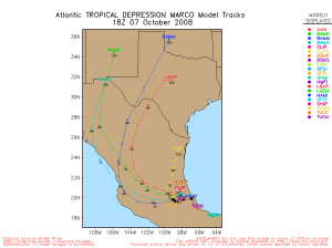 Tropical Depression Marco Spaghetti Model 1008 18Z