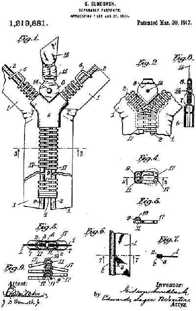 Sundbach's (Sundback) 1917 Patent