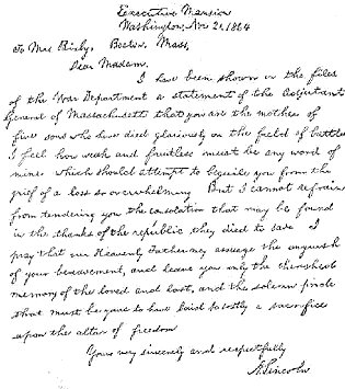 letter to mrs lydia bixby voices education project