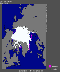 Figure 1. Arctic sea ice extent for October 2008 was 8.40 million square kilometers (3.24 million square miles) The magenta line shows the 1979 to 2000 average extent for October. The black cross indicates the geographic North Pole