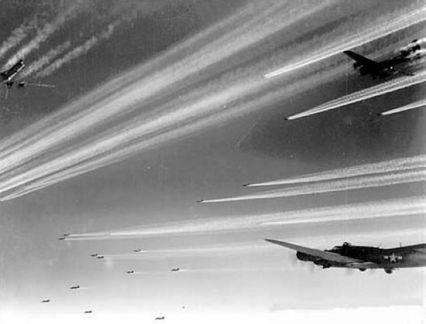 "B-17 Contrails WWII Let Enemy Know Where They Were....unless they were secret ""Chemtrails"""