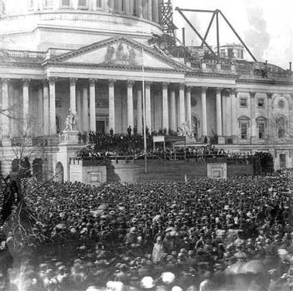 Lincoln Inauguration 1861 with Unfinished Capitol Dome...PerhapsThe Nation is Now Closer to Completion