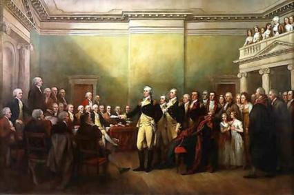 General Washington Resigning His Commission to Congress.  He Voluntarily Surrendered Absolute Power, Not Once, But Twice.  The Definition of the man, his character and integrity.
