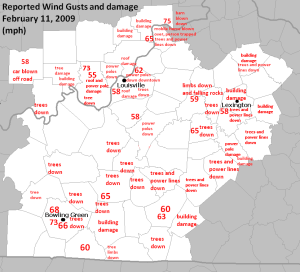 Peak Wind Gusts Feb 11, 2009