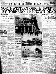 Toledo Paper With Tornado Headlines