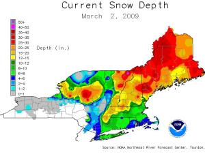 Total New England Snow Depth After Big Monday Snow