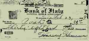 1929 Check From Bank of Italy