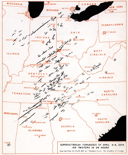 Map of All the Tornadoes on April 4, 1974