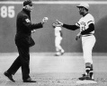 Clemente Receives The Ball From His 3000th and Final Hit Sept. 30 1972