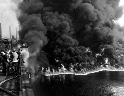 Cuyahoga River Ablaze in 1952
