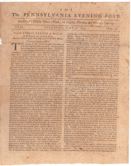 Brits communicated with America through papers such as PA Evening Post on May 13, 1775