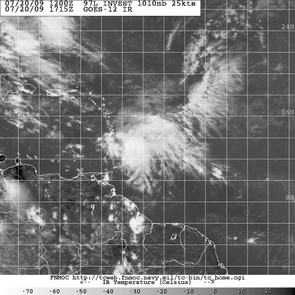 Invest 97L satellite image 1715Z July 20 2009