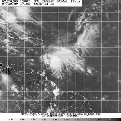 Invest 97L satellite image 1715Z July 20 2009