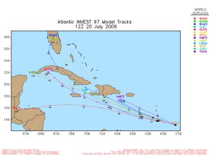 More comprehensive Invest 97L spaghetti model 12Z 07.20.07