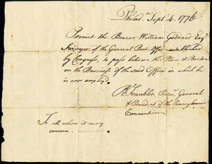 Surveyor Goddard's ID Pass signed by Franklin 1776
