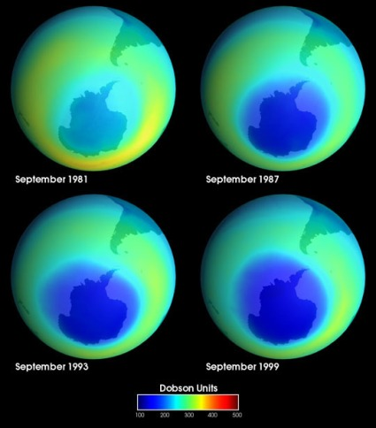 Not Much Change in Ozone Hole from '87 to '99