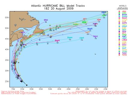 Hurricane Bill Spaghetti Model 18Z 08.20.09