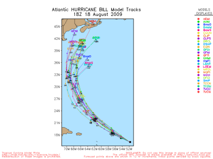 Hurricane Bill Spaghetti Model 18Z 08.18.09