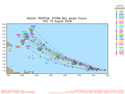 TS Bill Spaghetti Model 00Z 08.16.09