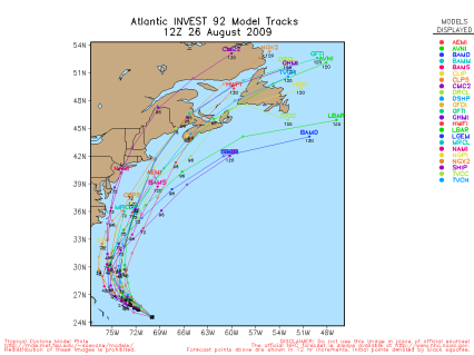 Tropical Storm Danny Spaghetti Model 12Z 08.26.09