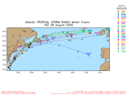 TS Danny Spaghetti Model Tracks 18Z 082809