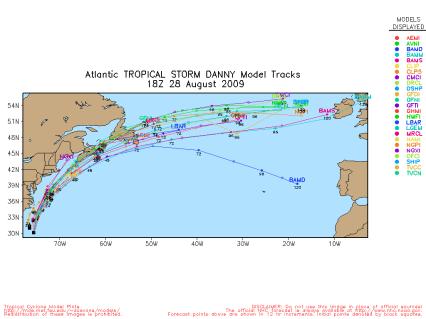 TS Danny Spaghetti Model Tracks 18Z 082809