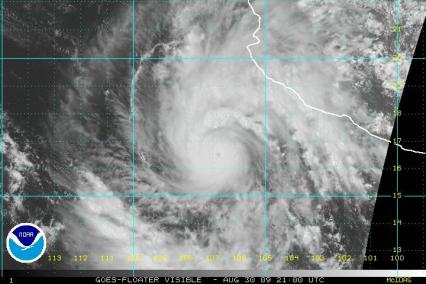 Hurricane Jimena Visible Satellte 21Z 083009