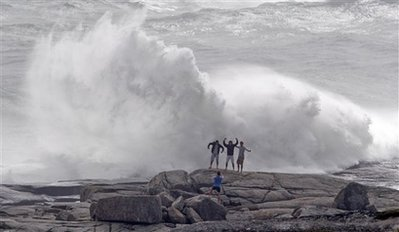 Peggy's Cove Waves and foolish people