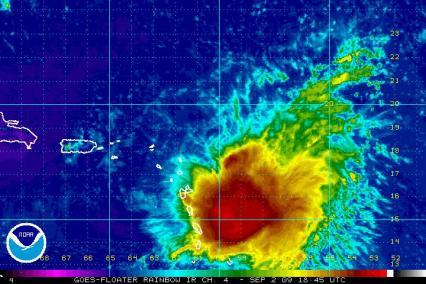 Tropical Storm Erika Satellite 1845Z IR Rainbow 09.02.09
