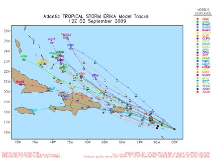 Tropical Storm Erika Spaghetti Model Track 12Z 09.02.09
