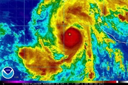 Hurricane Jimena 00:30Z Rainbow IR 09/01/09