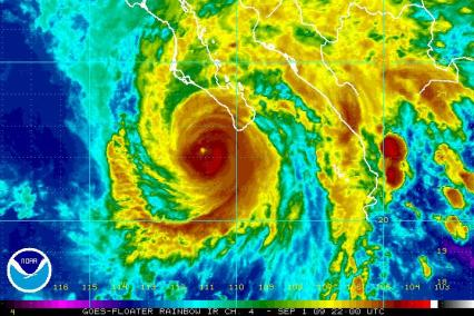 Hurricane Jimena Satellite Rainbow IR 22Z 09.01.09