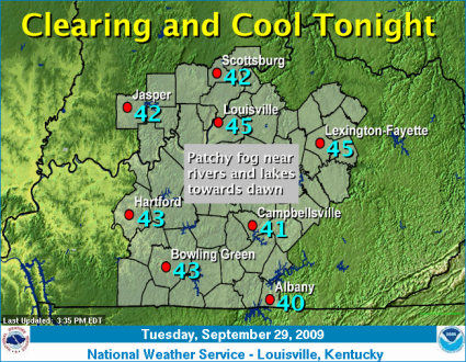 Louisville NWS Wed AM Forecast Temps