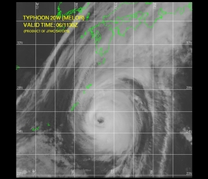 Typhoon Melor 1130Z 1006 Losing Some Symmetry